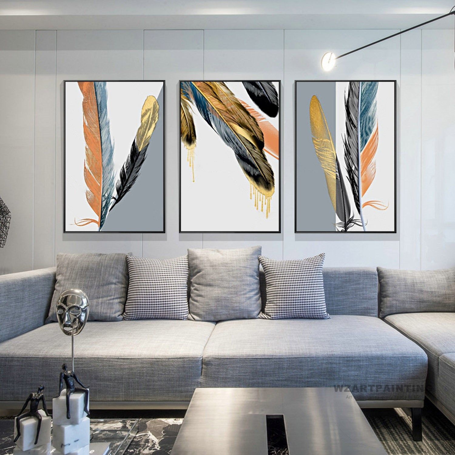 Framed Wall Art Set Of 3 Prints 3 Piece Modern Abstract Navy Blue Yellowblack Feather Print Feat Grey Wall Art Framed Wall Art Sets Dark Grey Couch Living Room