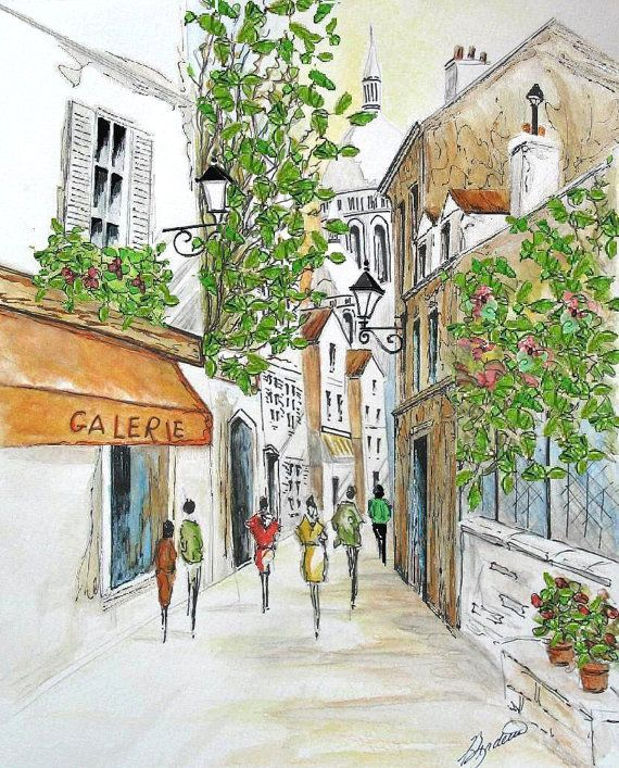 Print Of Paris Sacre Coeur Painting Paris French Cafe Watercolor