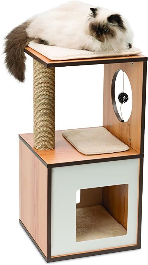 Amazon Com Vesper Cat Tree Cat Box Small Walnut 52075 Pet Supplies In 2020 Vesper Cat Furniture Modern Cat Tree Modern Cat Tower