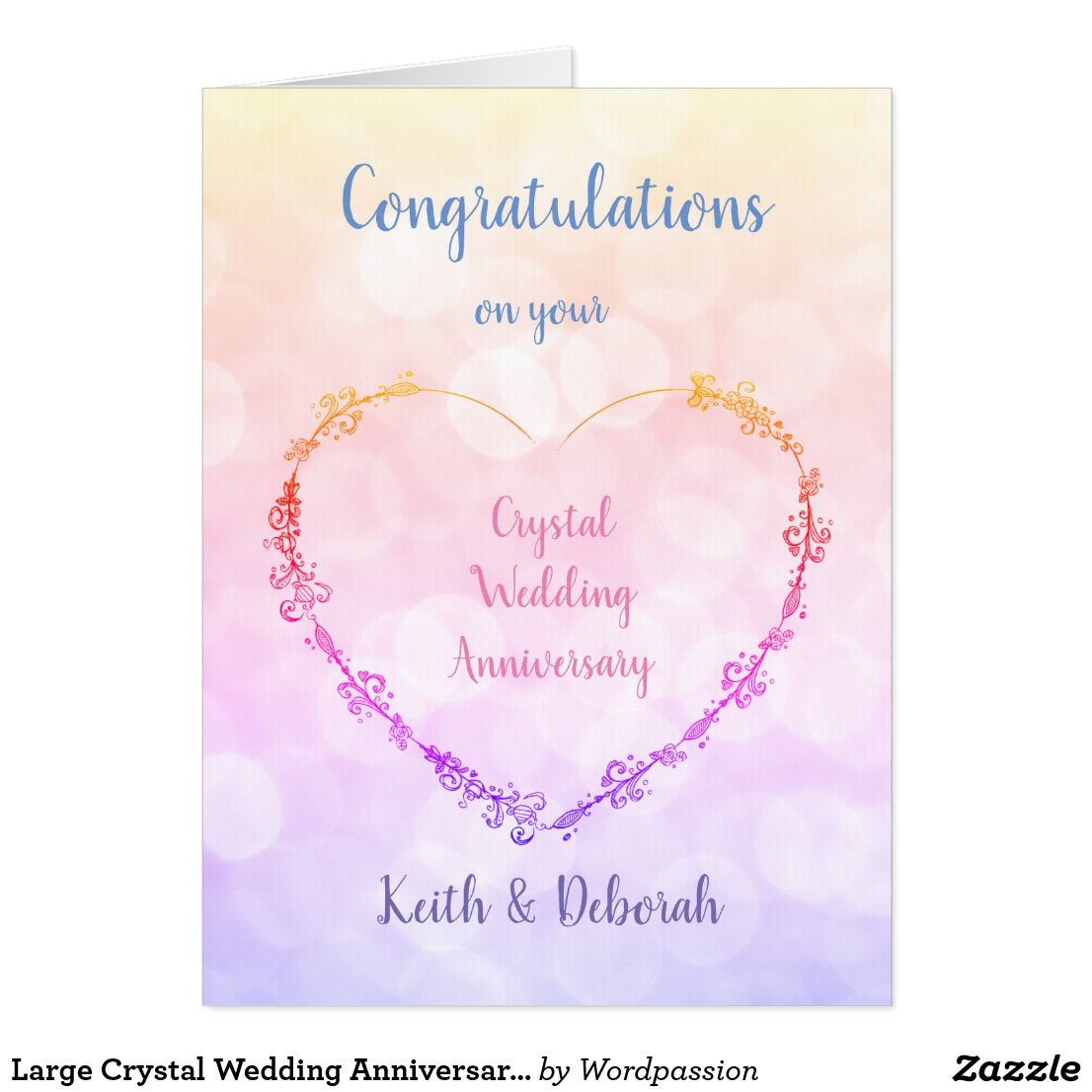 Large Crystal Wedding Anniversary design Card | Giant Greeting Cards ...