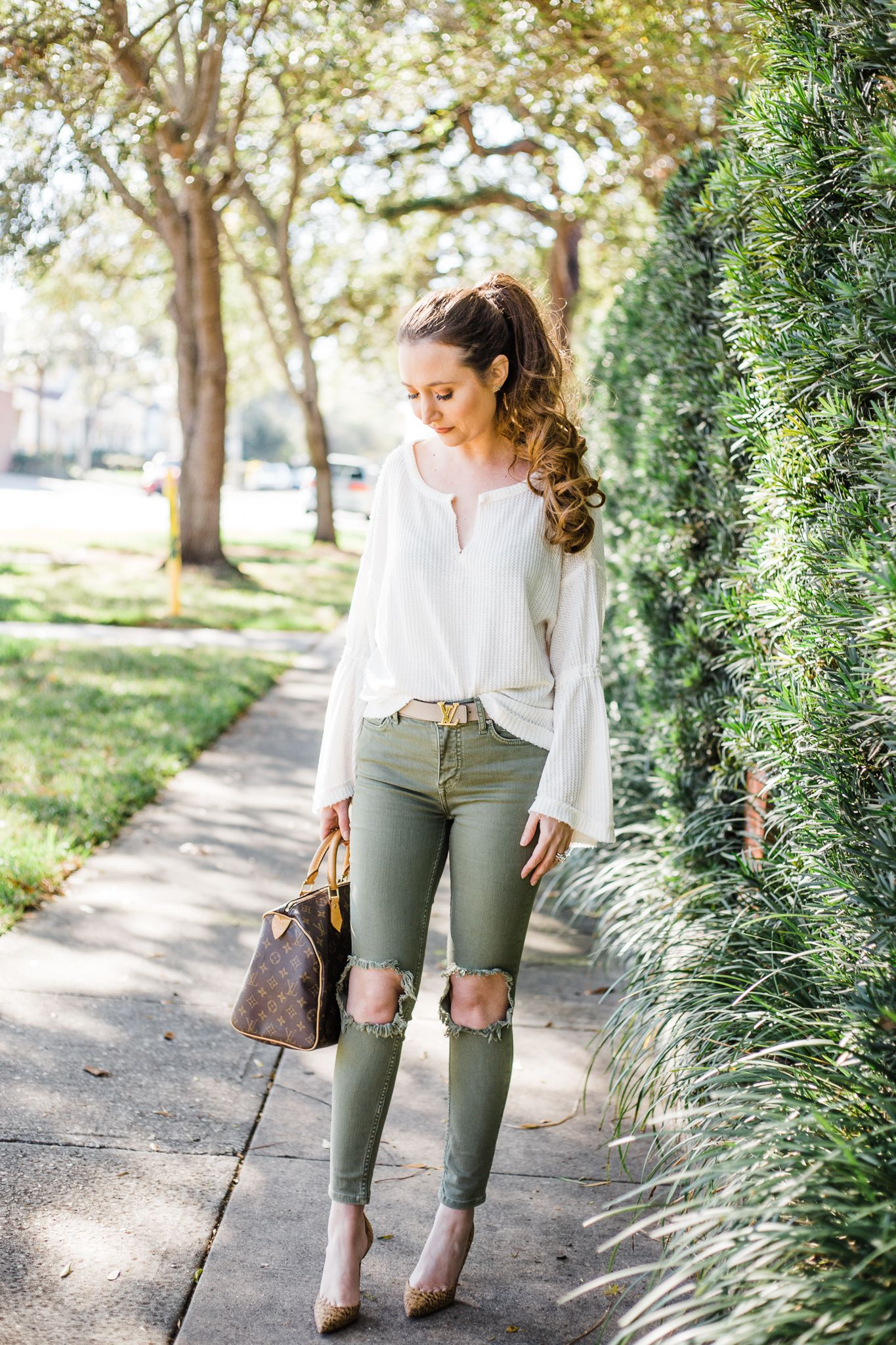 7a86438de How To Wear A Designer Belt: Gucci & Louis Vuitton, free people green  jeans, louboutin iriza, #spring2019