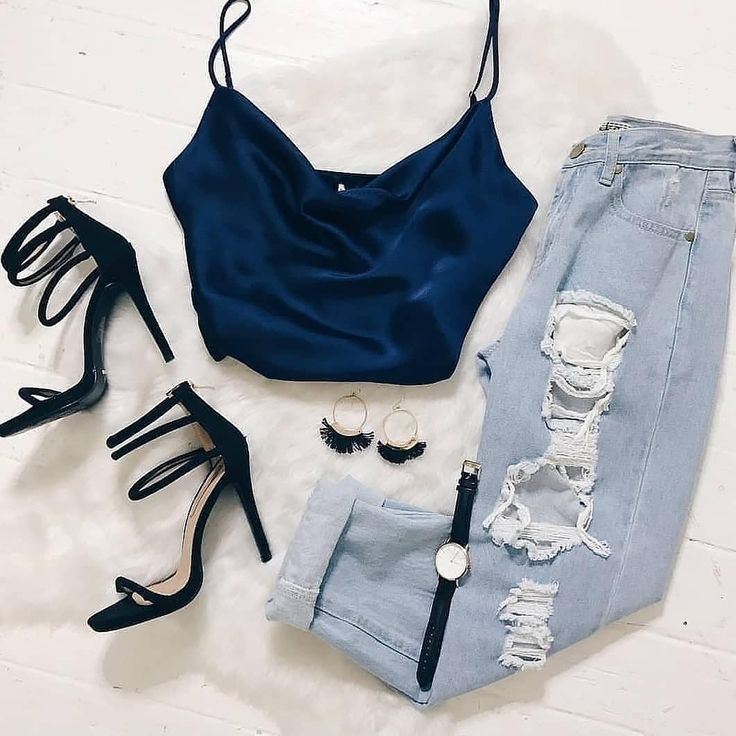 Navy silk tank top with ripped jeans and black strappy heel Visit Daily Dress Me on for more inspiration on womens fashion 2018 summer fashion night muffle girls night ou...