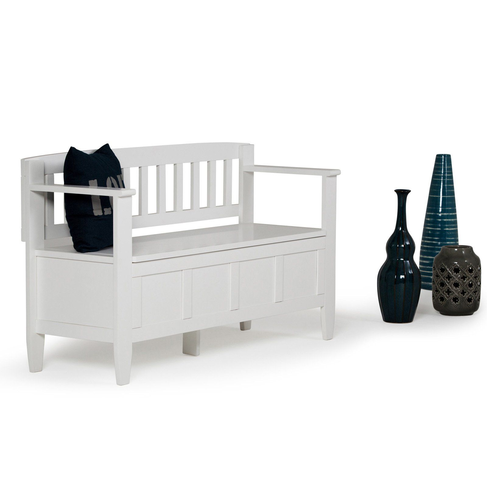 Sensational Simpli Home Brooklyn 4 Ft Entryway Storage Bench White In Gmtry Best Dining Table And Chair Ideas Images Gmtryco