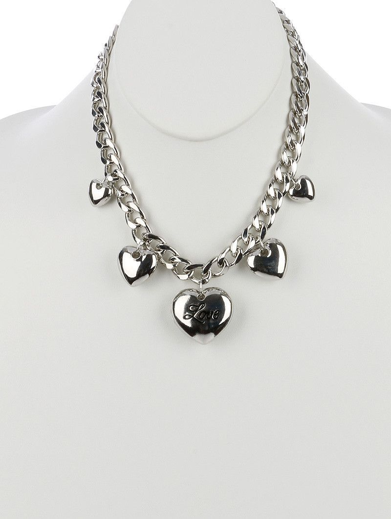 Necklace Chunky Metal Heart Message Charm Bib Love Hollow Metal Cutout Back Link Curb Chain 18 Inch Long 1 34 Inch Drop