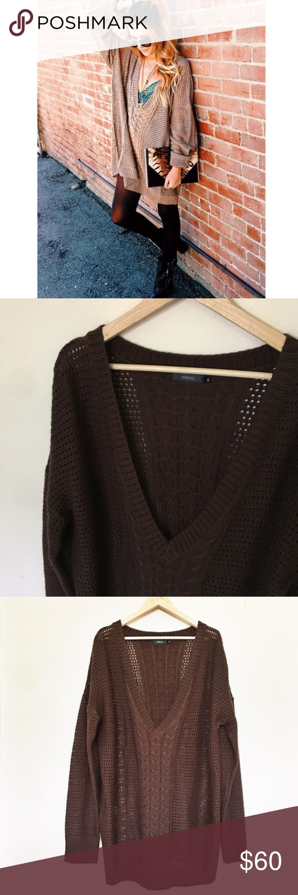 LF Oversized Brown Knit Sweater | Nice tops, Nice and Brown