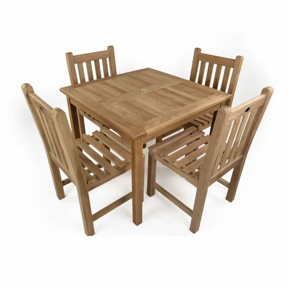 4 Seater Outdoor Dining Set Brown Teak Wood Square Table Chairs Garden Furniture Teak Garden Furniture Teak Outdoor Furniture Dining Chairs Uk