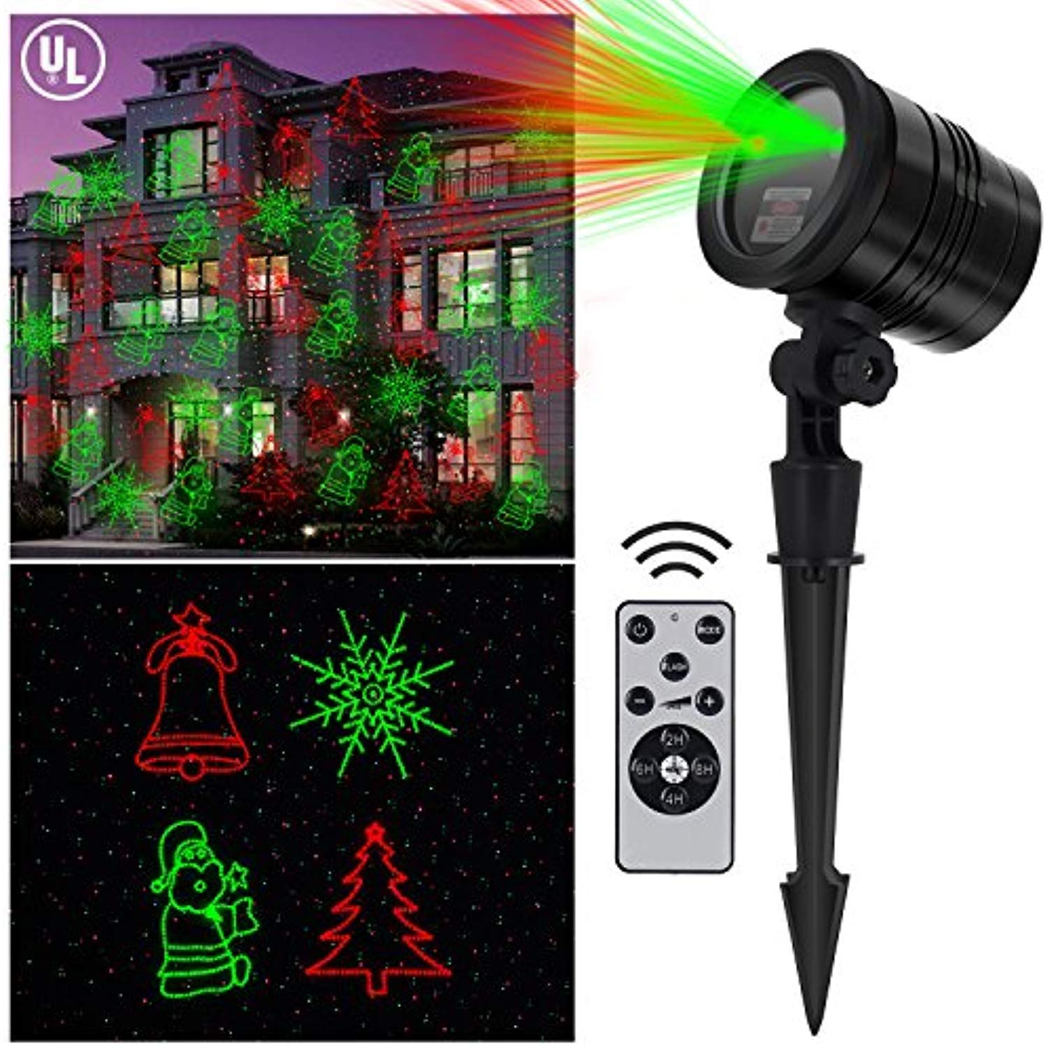 Christmas Outdoor Laser Light Aluminum Alloy With Rf Wireless Controller Ip 65 Waterproof Red And Green Stars Lig Outdoor Christmas Laser Lights Light Show