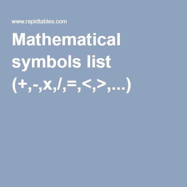 Mathematical Symbols List X Study Pinterest