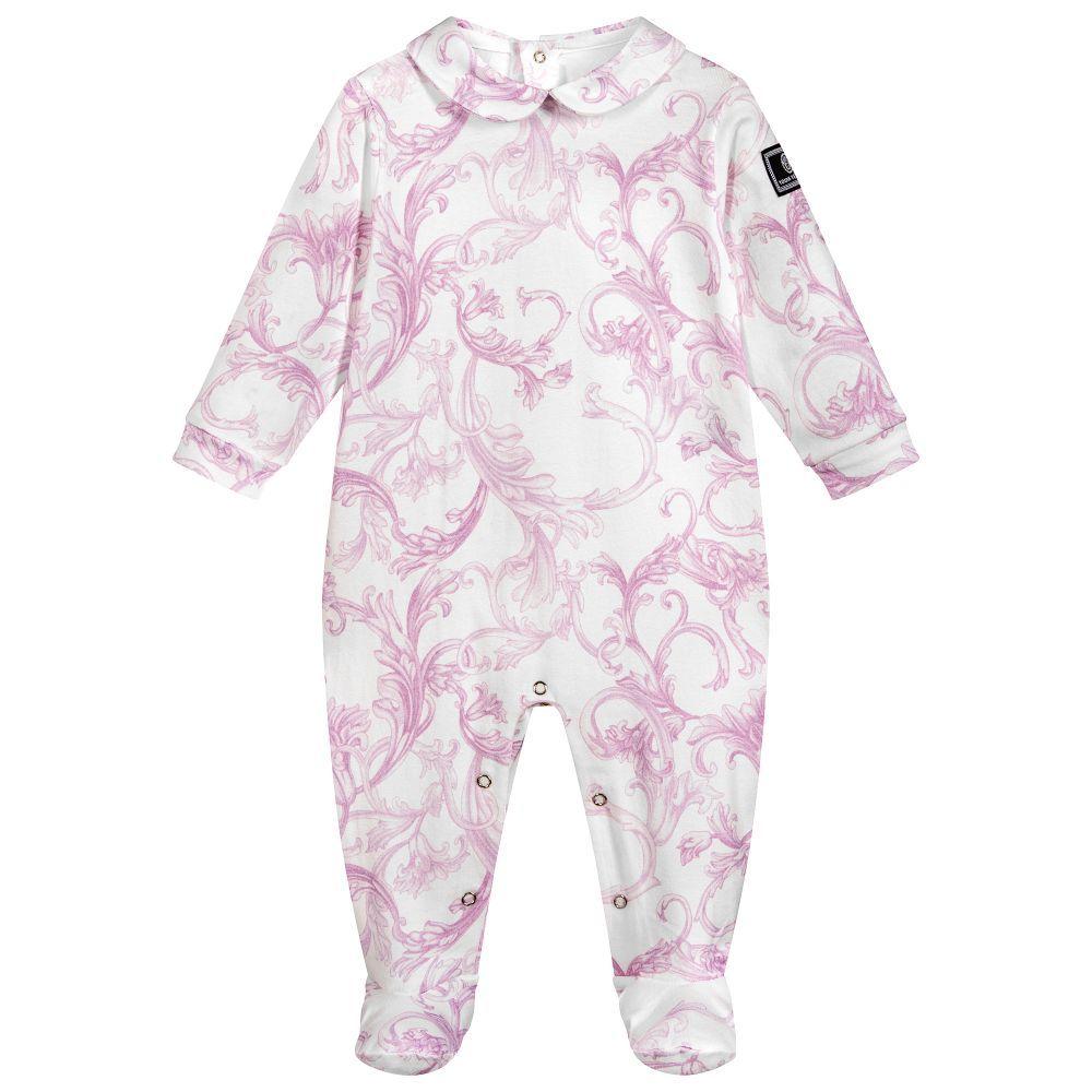 50841b8d075 Young Versace - Girls Pink BAROQUE Babygrow