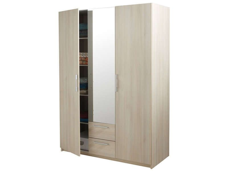 armoire 3 portes 2 tiroirs saturne coloris acacia pas. Black Bedroom Furniture Sets. Home Design Ideas