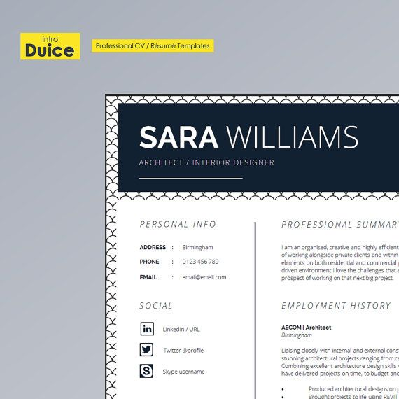 CV Design Resume Design Instant Digital Download by introDuice