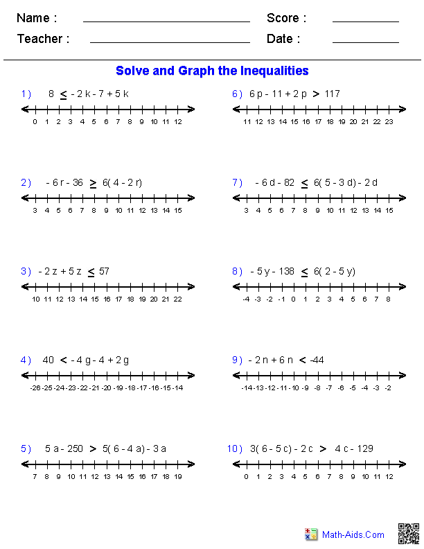 Multiple Step Inequalities Worksheets Math Aids Com Pinterest
