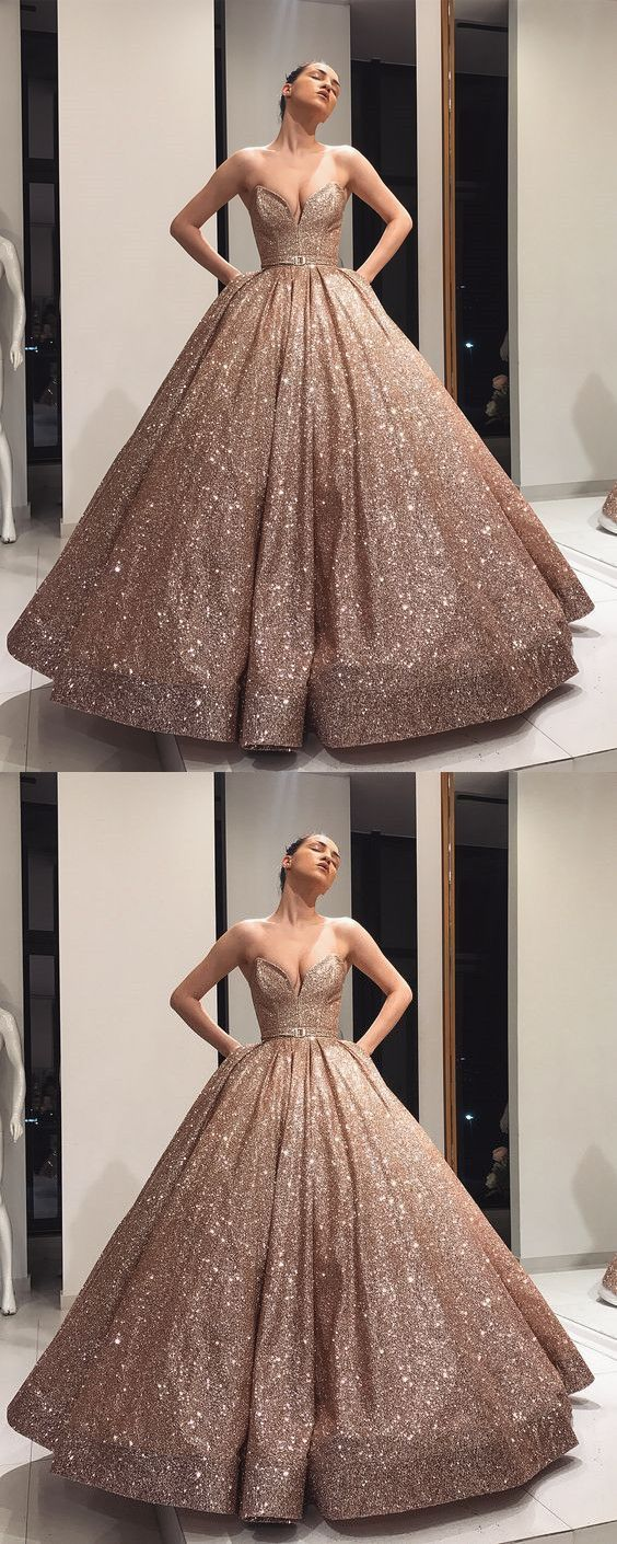 Strapless ball gown sequin prom dress , 2019 new fashion style