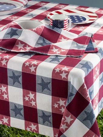 Patriotic Tablecloth Red White And Blue Checkered Table Cover Fourth Of July Decor 4th