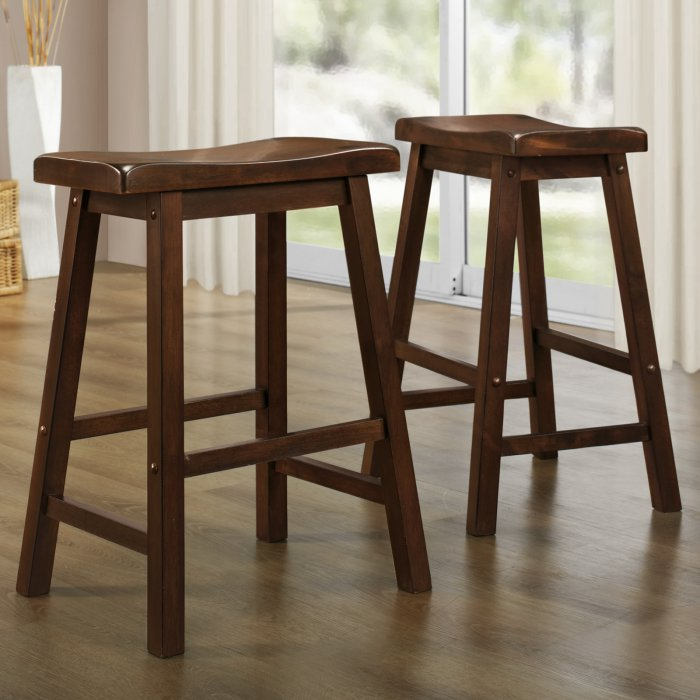 Weston Home 24 In Saddle Back Stool Warm Cherry Set Of 2 In 2020 Weston Home Stool Rustic Contemporary