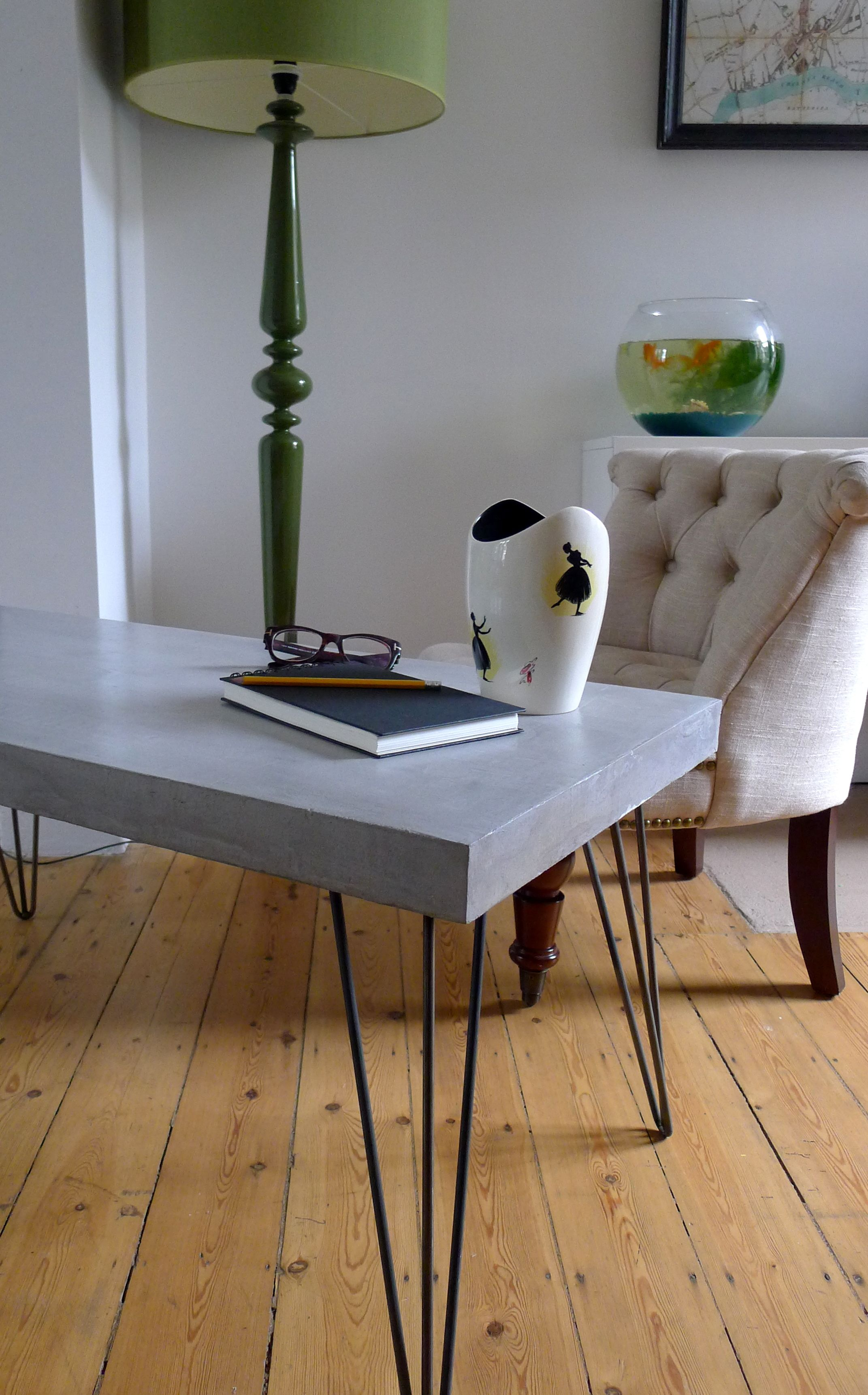 Polished Concrete Coffee Table On Hairpin Legs £350 Http://www.themintlist