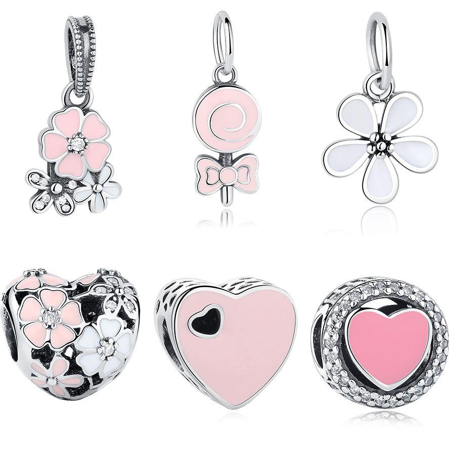 Shipinwei silver pink enamel charm beads fit pandora original