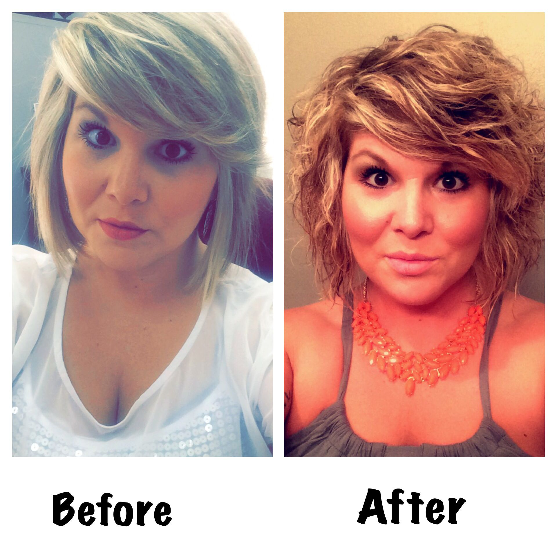 Before My Beach Wave Perm And Then After The Beach Wave Perm Permed Hairstyles Wave Perm Short Permed Hair