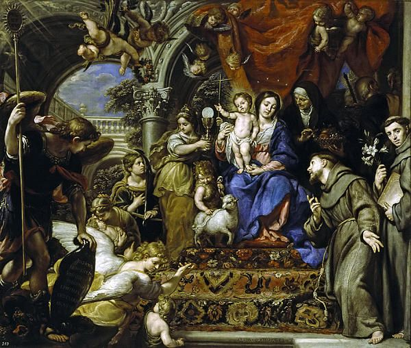 Claudio Coello 1642 1693 Virgin And Child Surrounded By