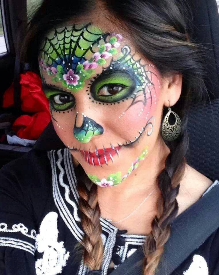 Its supposed to be a sugar skull costume but it reminds me so much of the Seahawks colors... I would wear this face paint to a game.