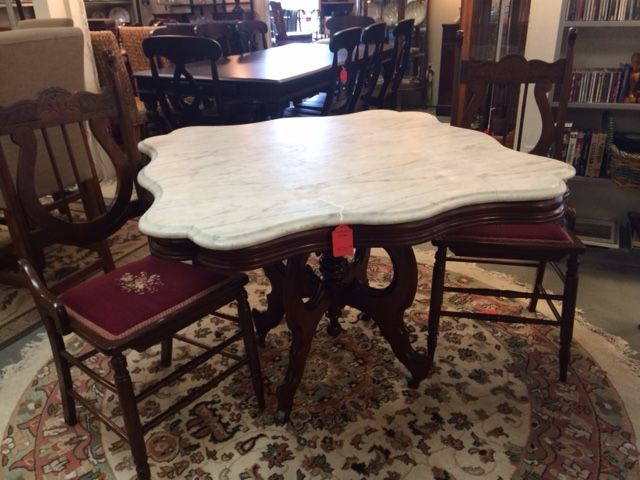 Unusual Marble Top Victorian Table Large Enough For Dining With 4 Chairs