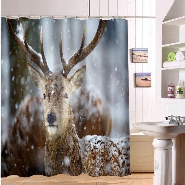 F516XY4 Custom deer horns animal autumn-orange tree animal Fabric Modern Shower Curtain bathroom Waterproof LF3 Autumn