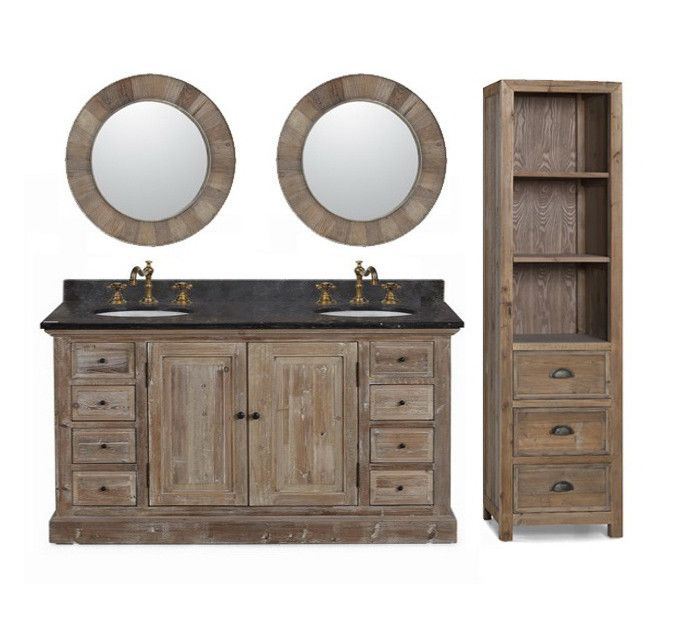 60 Inch Rustic Double Sink Bathroom Vanity Marble Top With Images