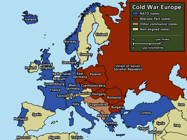 Cold War Europe Map This political map shows Europe in 1945. This connects to human