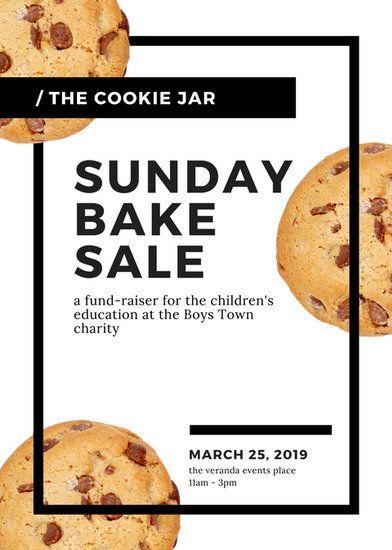 White Black Modern Cookies Bake Sale Flyer Baking Galore Bake
