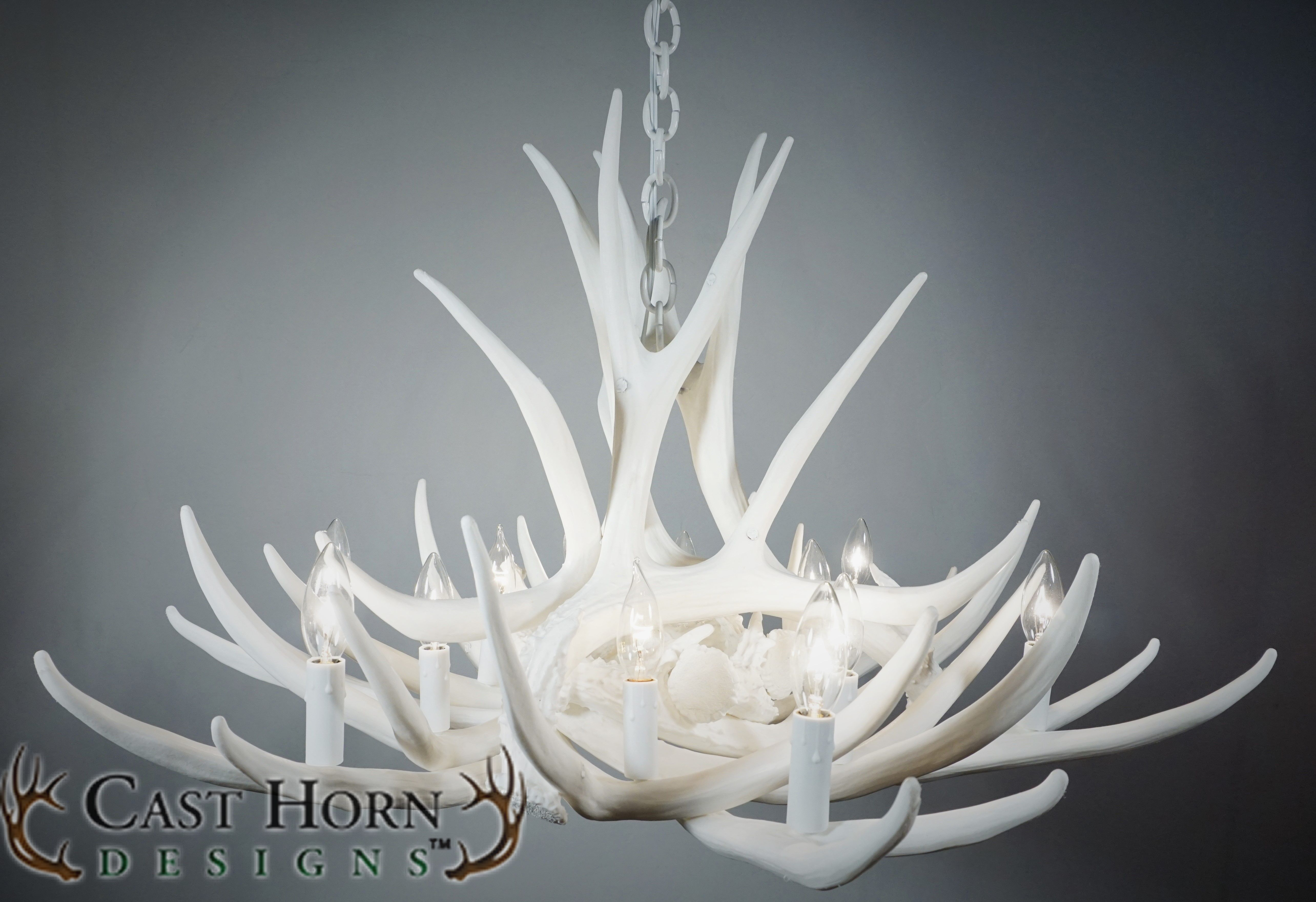 Mule deer 9 antler chandelier pure white by cast horn designs pure white mule deer 9 cast antler chandelier measures 36 wide and 20 tall weighs just 9 lbs mozeypictures Images