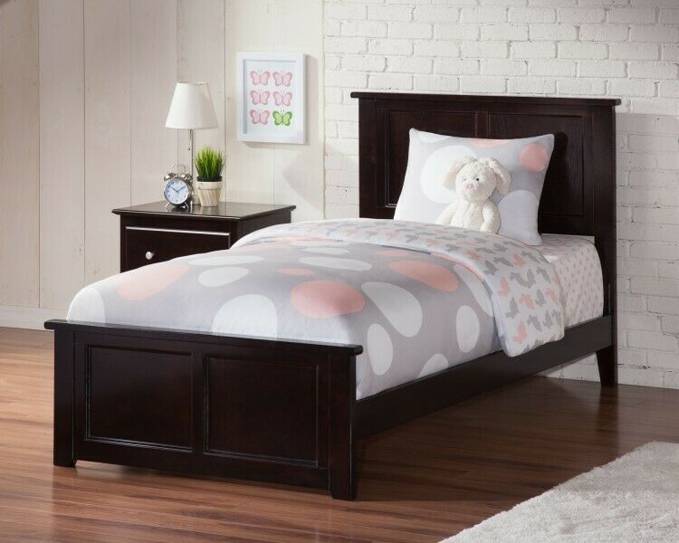 Details About Wooden Twin Xl Bed Gray Bedframe Headboard Bedstead