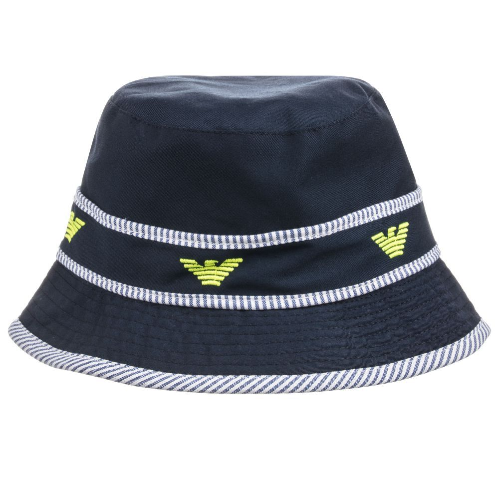 3719406727ba Keep boys shaded from the sun with this navy blue cotton hat from Armani  Baby.