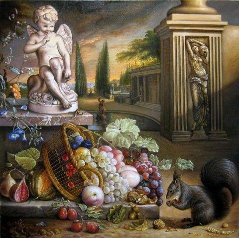 Alfonso Moreno verkoopt #stilleven 'Stilleven met fruit en eekhoorn' via #KUNSTmarktplaats.nl. #kunst #art #schilderij #stilllife #fruit