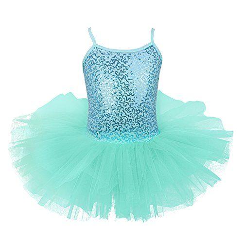 iEFiEL Maillot Vestido de Ballet Tutú Algodón con Lentejuelas Brillantes  con Braga Interior para Niña 4 a 8 Años Turquesa 7-8 Años c0640e58746