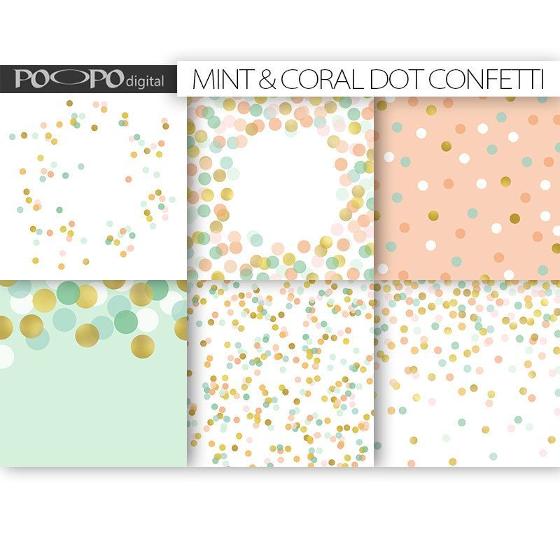 Coral Mint Gold Scrapbook Paper Digital Pattern Dot Wedding Dotted