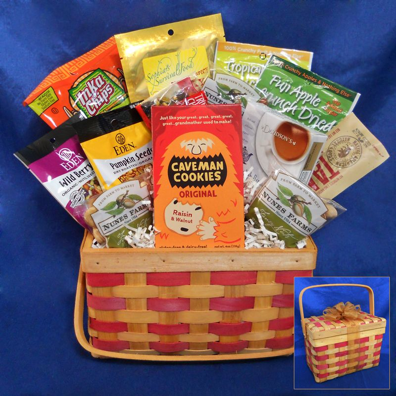 Our Deluxe Paleo Gift Basket now comes in this sturdy and handy picnic basket. Packed full with a variety of paleo treats. #paleo #gift