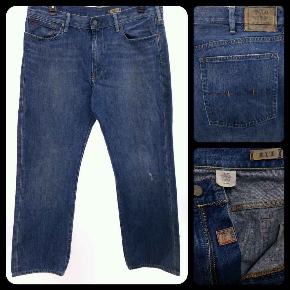 Lauren Men's Jeans Ralph 67 Med Polo 38x30 Straight Vintage Blue dshrQtC