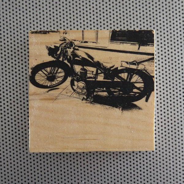 Vintage Peugeot motorcycle 4x4 handmade Paris street wood grain block phot  Photography