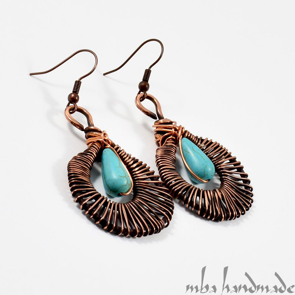 Turquoise Drop Dangle Earrings Antiqued Copper Wire Wrapped Natural Gemstone  #MBAHandmade #Wrap