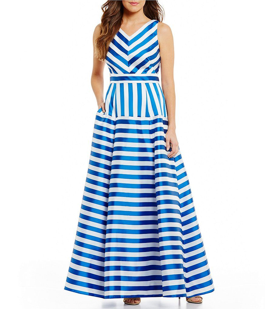 Eliza J Sleeveless V-Neck Striped Ball Gown | Pinterest | Ball gowns ...