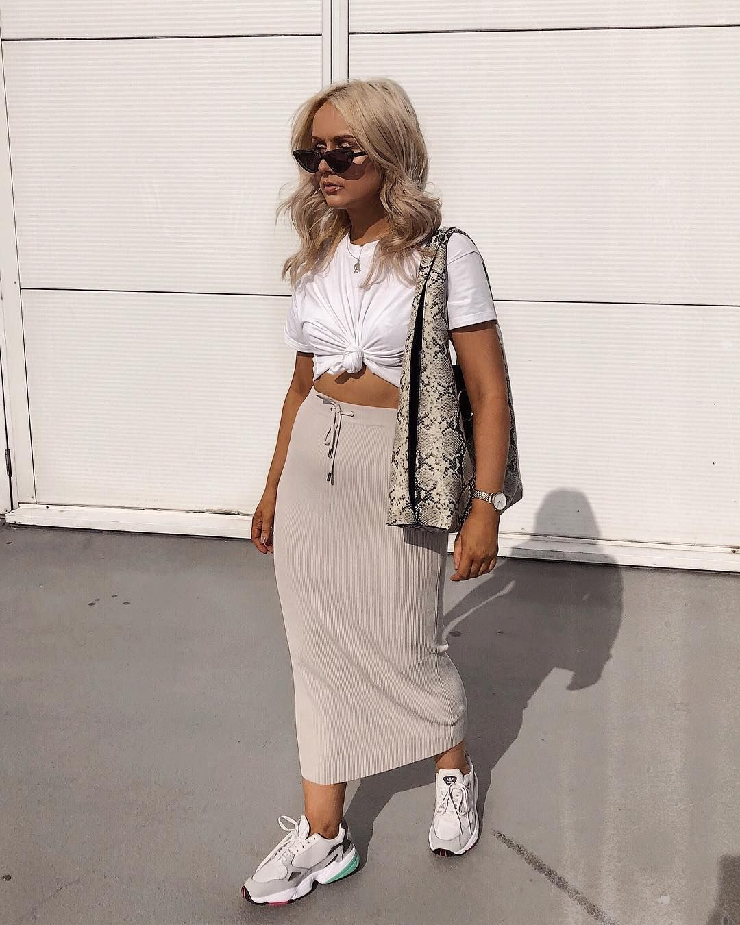 long skirt with trainers