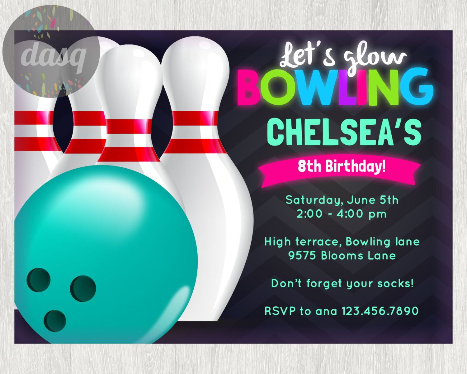 Instant Download Bowling InvitationPrintable Bowling Invitation