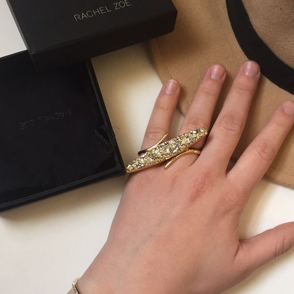 Rachel Zoe Gold and Crystal Ring PRICE FIRM Amazing brand new & sold out Rachel Zoe gold and crystal double ring. Includes box and dust bag. Such an amazing statement ring. Classified as OS however I am a size 8 and it only fits on last two fingers. I would guess it's about a 6-7 Rachel Zoe Jewelry Rings