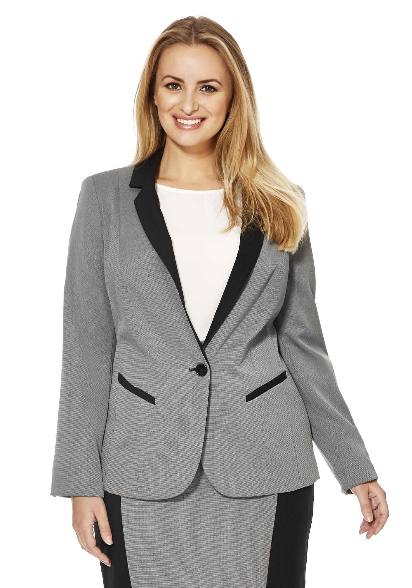 Ff True Fine Check Colour Block Plus Size Suit Jacket Gina Swire