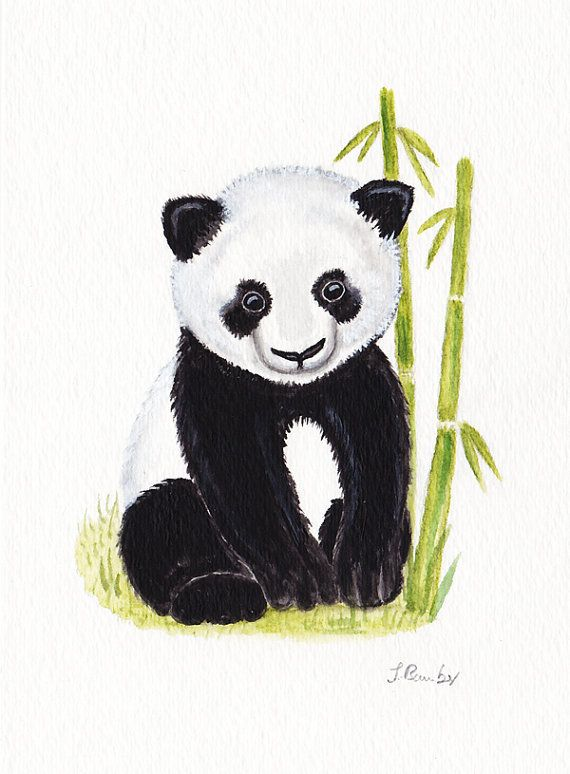 Panda Bear Original #watercolor painting | Fun paintings | Pinterest ...