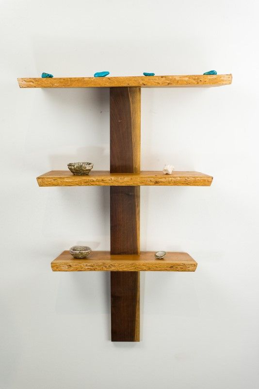 Three Tier Cherry Wood Shelf With Black Walnut Spine Cool Woodworking Projects Wood Shelves Small Woodworking Projects
