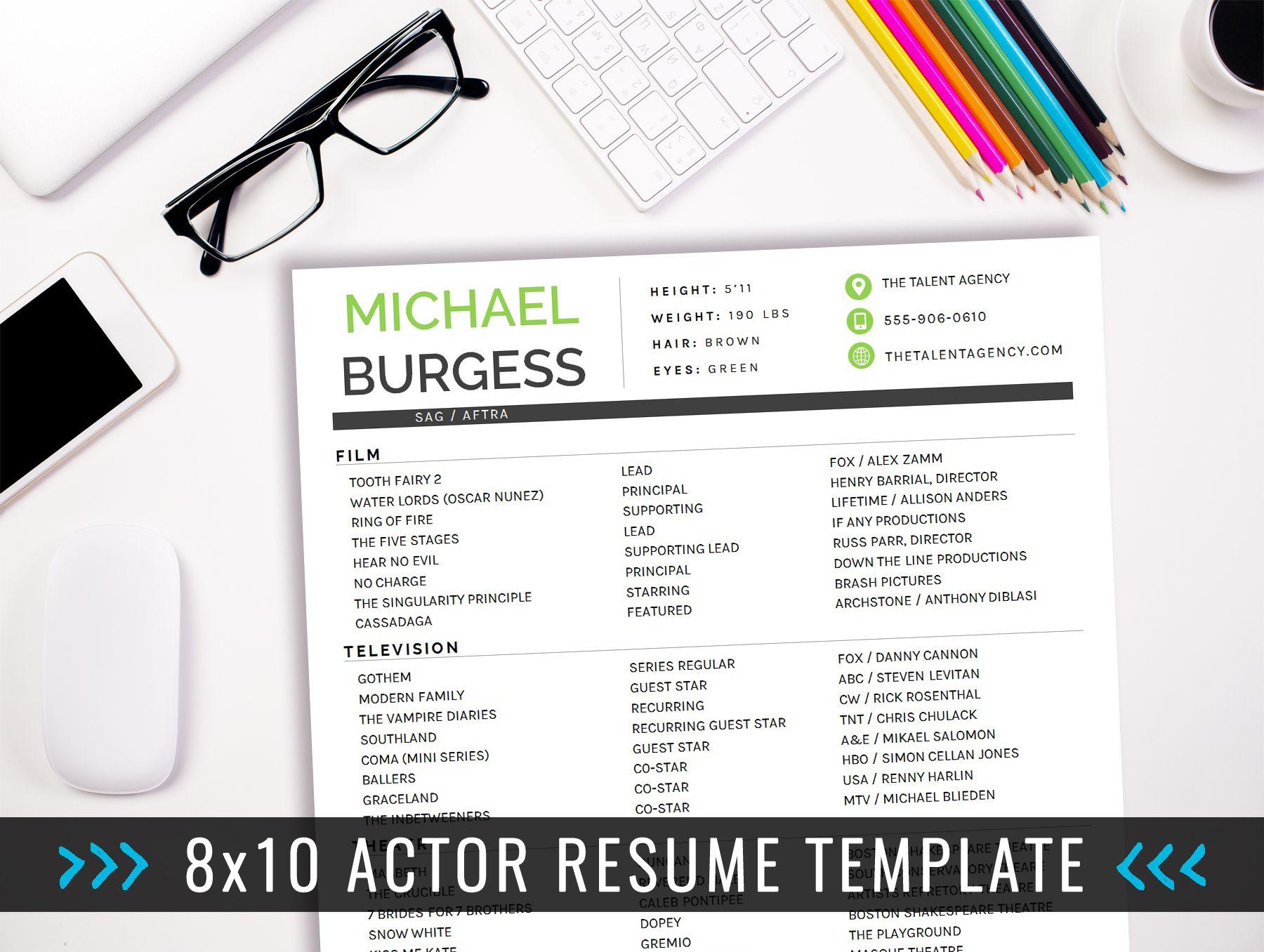 8x10 Actor Resume Template - 8x10 Actor Resume Template - INSTANT ...
