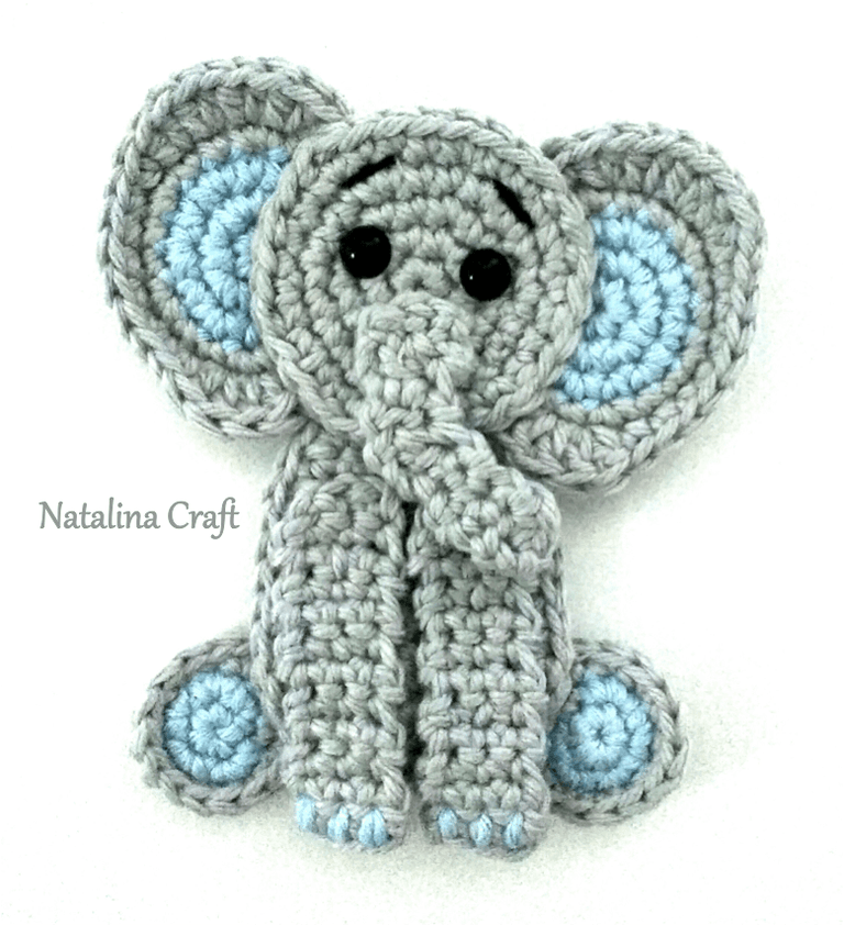 Free Crochet Pattern: Elephant Appliqué - Natalina Craft