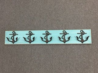 This beach home décor, a 5 anchor hook board is READY TO SHIP... the dimensions of this board are 34-34 1/2 long and 5 1/2 high. The anchors