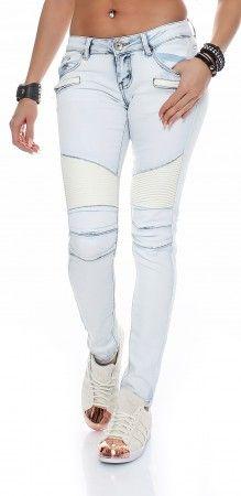 SKUTARI Damen Jeanshosen Stretch Skinny Biker Jeans